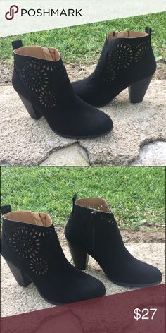 """🌸Reduced 🌸New black color laser cut booties! We L❤️VE these!! Goes with everything! Black color laser cut out ankle boot. Side zipper.  Material: Man made, faux suede leatherette upper Sole: Synthetic Measurement: Heel Height: 3 1/4"""" (approx.) Platform: 1/2"""" (approx.) Fitting: True to size Qupid Shoes Ankle Boots & Booties"""