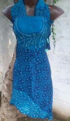 Combination Of Batik hand block print And bandhej in silk indigo dress