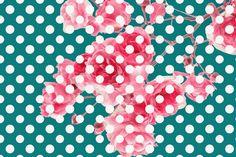 Wild Rose Blossoms Polka Dot Wallpaper Background!