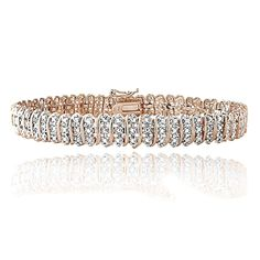 18K Rose Gold Plated Brass 1ct TDW Diamond S Tennis Bracelet #Tennis