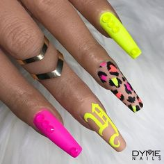 [New] The 10 Best Home Decor (with Pictures) - NEON VIBES! Who wants a tutorial on the neon cheetah print? Practice Hand Code: DYME to Save Swarovski . Neon Nails, Swag Nails, Glitter Nails, Neon Yellow Nails, Stiletto Nails, Perfect Nails, Gorgeous Nails, Pretty Nails, Summer Acrylic Nails