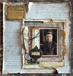 1945 Heritage military page with striking layered frame and distressed edging. Heritage Scrapbook Pages, Vintage Scrapbook, Scrapbook Page Layouts, Scrapbook Cards, Scrapbooking Layouts Vintage, Album Photo, Vintage Crafts, Mix Media, Altered Art