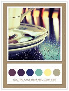 Colour Palette: plum, royal purple, cobalt, pool, canary, khaki