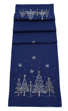 Winters Whisper Embroidered Table Runner Featuring a wintry Christmas trees and stars scene Set on a blue colour fabric 100 polyester Dimensions Christmas Runner, Blue Christmas, Christmas Crafts, Christmas Trees, Coastal Christmas, Christmas Activities, Winter Table, Table Runner Pattern, Machine Embroidery Projects