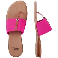 Andre Assous Nice Sandals ($89) ❤ liked on Polyvore featuring shoes, sandals, fuchsia, leather slip on shoes, stretch sandals, fuchsia sandals, fuschia sandals and flat shoes