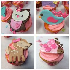 Baby girl woodland cupcakes made for baby shower 4/26/2014 #JSweets