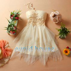 Lace Bridesmaid Dress Champagne Prom Dress Ivory by CupidHouse, $79.00