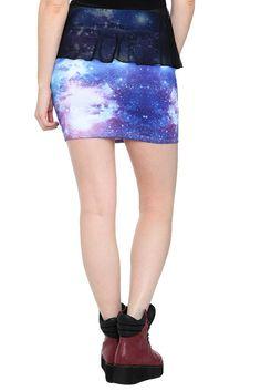 Blue Galaxy Contour Mini Skirt