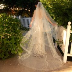 Cathedral Wedding Veil - Drop Veil or Cascade Style with Sheer Organza Ribbon Edge in ivory 125.00, via Etsy.
