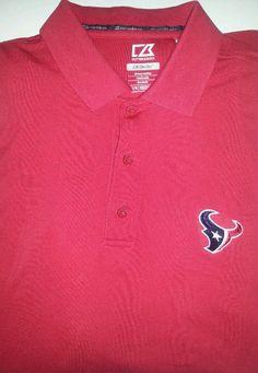 e737dcc0 NFL Houston Texans Dri Tec Red Polo Golf Shirt Cutter & Buck Size M EUC