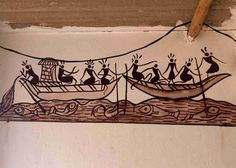 Saura Painting of Orissa Sailing Ship Saura Painting Art Painting, Indian Art Paintings, Aboriginal Art, Worli Painting, Tribal Art, Mural Art, Art, Tribal Art Drawings, Art Painting Gallery