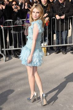 Emma Roberts. Love the dress and shoes