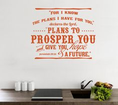 Wall Decal Bible. For I Know the Plans I Have by WeAreVinylDesigns, $22.00