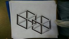 Intertwined 3D boxes on graph paper