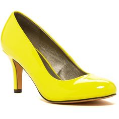 Michael Antonio Finnea Pump ($30) ❤ liked on Polyvore featuring shoes, pumps, yellow, high heel shoes, kitten heel pumps, round cap, slip on shoes and michael antonio shoes