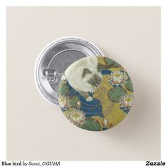 <Blue bird> Lovely siamese cat and water lilies button by Satoi Oguma.