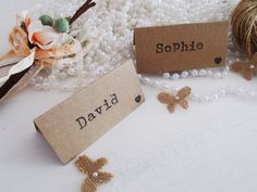 Simple rustic wedding place name cards. Hand-stamped in a vintage typewriter-style font.