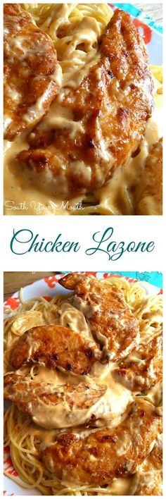 Seasoned chicken pan-fried in butter with a super easy cream sauce served over pasta. Seasoned chicken pan-fried in butter with a super easy cream sauce served over pasta. Pasta Dishes, Food Dishes, Main Dishes, I Love Food, Good Food, Yummy Food, Tasty, Chicken Lazone, Chicken Cacciatore