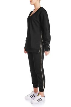 In a flattering tapered silhouette. Gold-tone zipper on both sides. This drawstring jogger pants is a great item for lounging or casual weekend plans. Jogger Pants, Joggers, Weekend Plans, Black Cotton, Women Wear, Normcore, Songs, Sweatshirts, Casual