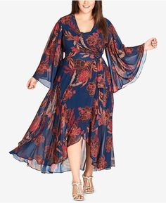 City Chic Trendy Plus Size – Maxikleid mit Blumenmuster und Faux-Wrap City Chic Trendy Plus Size Maxi Dress with Floral Pattern and Faux Wrap Dress Plus Size, Plus Size Skirts, Plus Size Maxi Dresses, Trendy Dresses, Plus Size Outfits, Nice Dresses, Fall Dresses, Dresses Dresses, Wrap Dresses