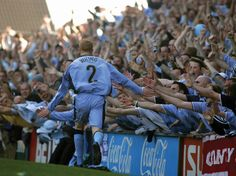Andrew Whing celebrates scoring the final ever goal at Highfield Road on April 2005 Coventry Football, Coventry City Fc, Blue Army, Football Shirts, Blues, Sky, History, 30th, Pictures