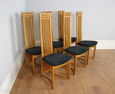 Chair Sets of 6 Antique Dining Chairs, Six Actona Art Deco Oak High Back Dining Chairs. This is a superb quality set of 6 Danish Actona art deco style oak high back dining chairs, circa