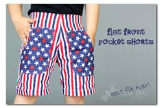 Flat Front Pocket Shorts - Red White and Blue - Sugar Bee Crafts Cute Shorts, Boy Shorts, Shorts With Pockets, Pocket Shorts, Sewing Tutorials, Sewing Ideas, Sewing Projects, Little Girl Dresses, Girls Dresses