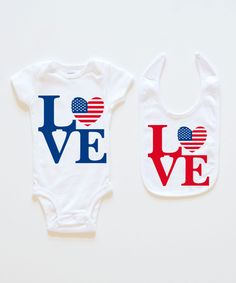 White Stars & Stripes 'Love' Bodysuit & Bib Set - Infant