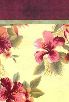 Pillowcase Kit - Hawaii.  This lovely pillowcase kit features a tropical print of pink, cheddar and green flowers on a yellow ground. The accent band is a matching sage green and the top is a coordinating burgundy color . Kit contains everything you need to make one standard-size pillowcase.