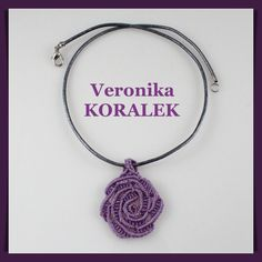 Necklace, pendant made of S-lon bead cord. This was my first micro macrame rose. Micro macrame is fun. Beaded Jewellery, Jewelry, Micro Macrame, Cord, Crochet Earrings, Beads, Pendant, Fun, Crafts