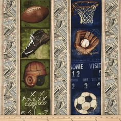 Vintage Varsity Repeating Stripe Multi from @fabricdotcom  Designed by Stephanie Marrott for Wilmington Prints, this cotton print is perfect for quilting, apparel and home decor accents.  Colors include navy, cream, tan, brown, black, green, and red.