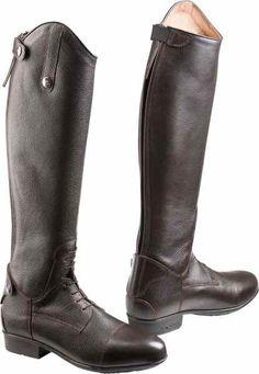 Stivali Equi-Theme alti in pelle a grana con lacci elastici da equitazione ragazza/donna modello Primera, molto morbidi, calzata comoda e facile da indossare.