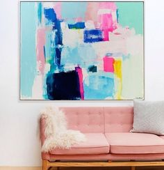 The stunning work of Kirsten Jackson sitting pretty in this living room. It's pastel perfection! Shop Kirsten's works at The Block Shop now - we have lots of gorgeous prints and cushion covers available.