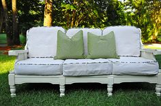 old wooden couch and chair makeover. I think these would be great covered patio furniture Redo Furniture, Distressed Furniture Painting, Furniture, Wooden Sofa, Couch Makeover, Wooden Couch, Distressed Furniture, Home Furniture, Shabby Chic Furniture