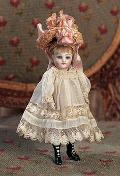 German Mignonette — 4 All-Bisque Doll with High Black Boots Victorian Dolls, Vintage Dolls, Dollhouse Dolls, Miniature Dolls, China Dolls, Doll Costume, Bisque Doll, Old Dolls, Little Doll