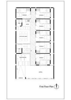 quarto de hotel Gallery of Bioclimatic and Biophilic Boarding House / Andyrahman Architect - 21 Town House Floor Plan, Beach House Floor Plans, Hotel Floor Plan, Home Design Floor Plans, House Plans, The Plan, How To Plan, Home Map Design, House Design
