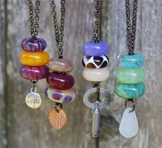 Lampwork, Glass Beaded Lariat Necklaces, various recycled, upcycled, repurposed items.  Venbead