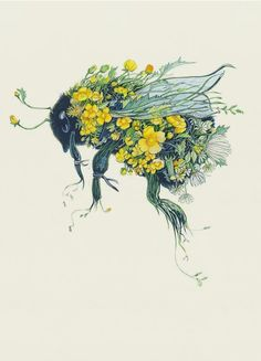 "Bumblebee - Card Scientist Antione Magnan proved that bumblebees are incapable of flight. In his 1934 book, 'Le Vol des Insectes', he says, "".prompted by what is done in avia Inspiration Art, Art Inspo, Natur Tattoos, Arte Sketchbook, Bee Art, Guache, Bees Knees, Cool Art, Art Drawings"