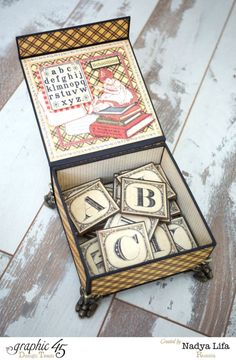 An ABC Primer alphabet box by Nadya Lifa with a fabulous tutorial! #graphic45