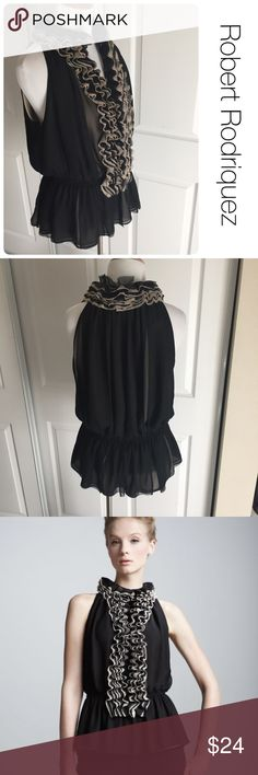 Robert Rodriguez for Target ruffle top size  M ♦️Excellent condition. No holes, stains or piling.                                                 ♦️Materials- 100 polyester        ♦️Measurements:                               ♦️Laying flat armpit to armpit: approximately 18 inches                       ♦️Laying flat from the back of the neck to the bottom of the front hem is approximately 26 inches Robert Rodriguez Tops