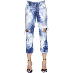 Dsquared2 Women Bleached Tomboy Cotton Denim Jeans ($475) ❤ liked on Polyvore featuring jeans, blue, bleaching white jeans, torn jeans, white torn jeans, ripped jeans and destructed jeans