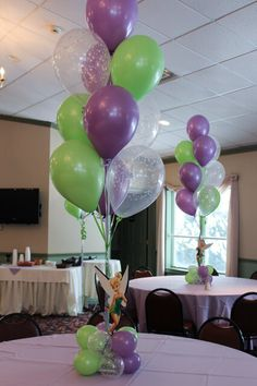 Balloon Centerpiece with Balloon Base & Cutouts of Tinkerbell - Balloon Centerpieces Tinkerbell Party Theme, Fairy Birthday Party, Baby Girl Birthday, 4th Birthday Parties, Birthday Ideas, Tinkerbell Fairies, Tangled Party, Princess Birthday, 5th Birthday