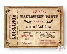 Ticket Halloween Invitation - Adult Halloween Invitation - Printable Halloween Invites - Halloween Party Invitations - Halloween Birthday by PegsPrints on Etsy https://www.etsy.com/listing/245981027/ticket-halloween-invitation-adult
