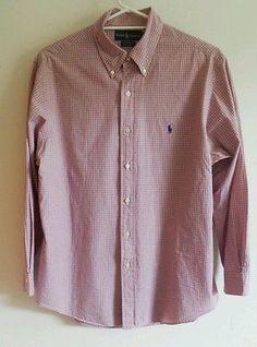 Ralph Lauren Red Blue Custom fit 32-33 Check Mens Dress Business Shirt