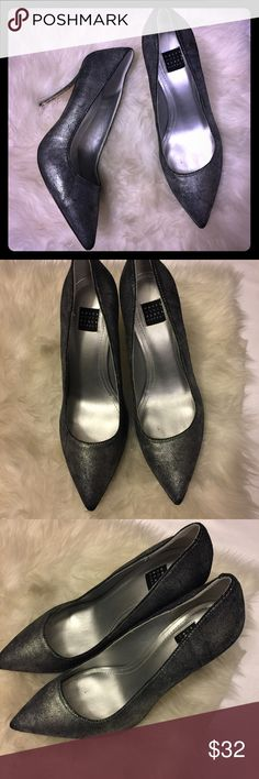 White House Black Market silver metallic heels 👠 Excellent pre-owned condition 4 in high White House Black Market Shoes Heels