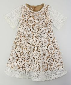 Look what I found on #zulily! Tan & White Floral Lace-Overlay Dress - Toddler & Girls #zulilyfinds