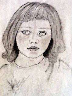 Little girl. Charcoal on sketch paper.