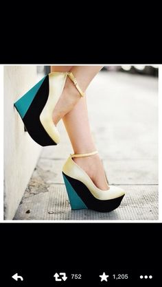 white , blue , & black wedges