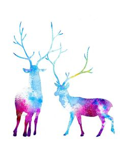 Deer Silhouettes - Modern Nature Watercolor Wildlife -  Painting Print by Annya Kai via Etsy