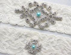 RACHEL III - Tiffany Blue Pearl Garter Set, Bridal Garter, Wedding Ivory Lace Garter, Rhinestone Crystal Garter, Something Blue on Etsy, $22.95